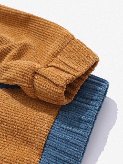 Sweat à Capuche Jointif Bicolore en Velours Côtelé - Bleu S Mobile
