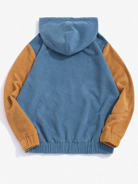 new Two Tone Patchwork Corduroy Hoodie - BLUE XL Mobile