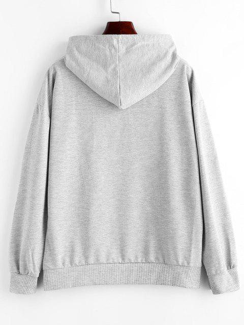 Letter Cartoon Graphic Front Pocket Hoodie - أوزة رمادية L Mobile