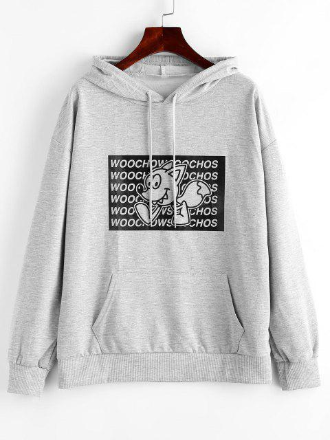 outfit Letter Cartoon Graphic Front Pocket Hoodie - GRAY GOOSE M Mobile