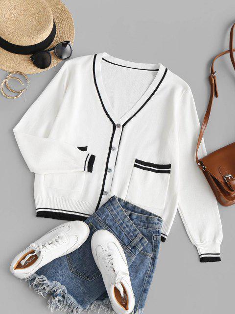 sale Plunge Contrast Knit Pocket Cardigan - WHITE ONE SIZE Mobile