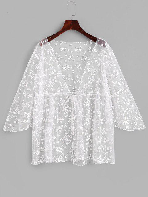 outfits Sheer Mesh Floral Cover Up Kimono Top - WHITE ONE SIZE Mobile