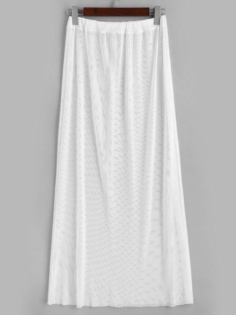 latest Sheer Mesh Solid Beach Skirt - WHITE ONE SIZE Mobile