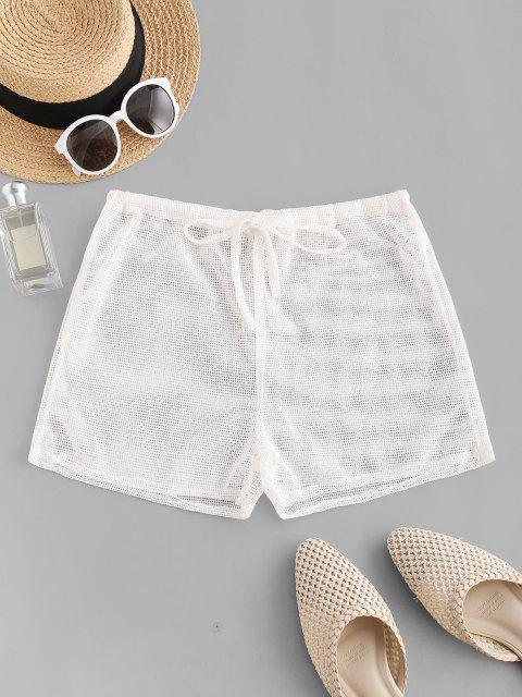 shops Drawstring Fishnet Shorts - WHITE ONE SIZE Mobile