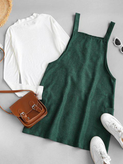 trendy Rib-knit Top and Corduroy Overall Dress - GREEN S Mobile