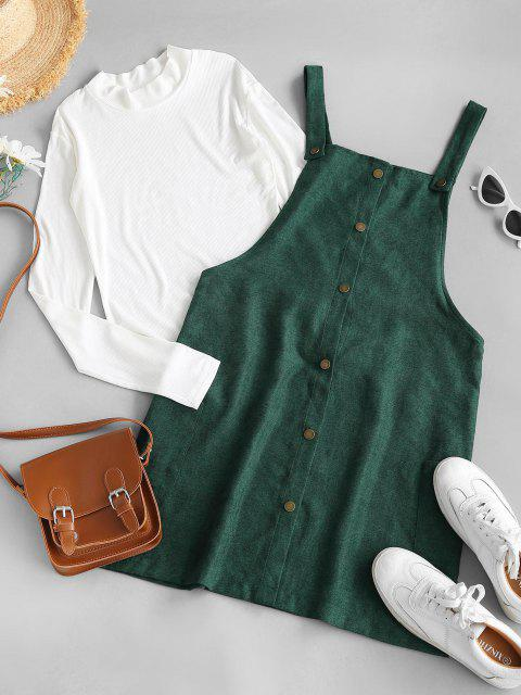 fashion Rib-knit Top and Corduroy Overall Dress - GREEN M Mobile