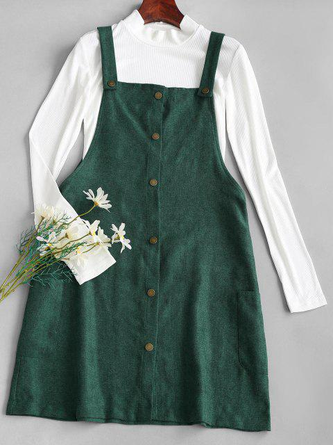 fashion Rib-knit Top and Corduroy Overall Dress - GREEN XL Mobile