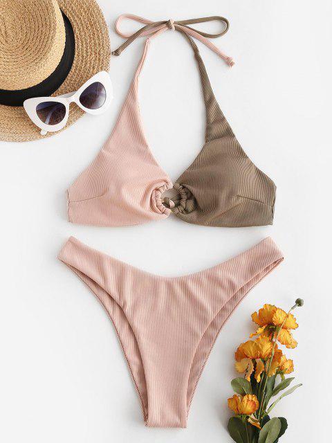 ZAFUL Maillot de Bain Bikini Bicolore Anneau en O à Coupe Haute - Café profond S Mobile