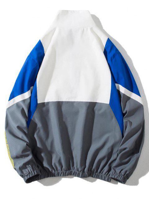 Colorblock Panel Letter Print Zip Up Jacket - متعددة C L Mobile