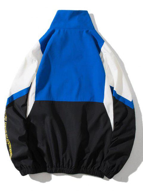 fashion Colorblock Panel Letter Print Zip Up Jacket - MULTI-B XL Mobile