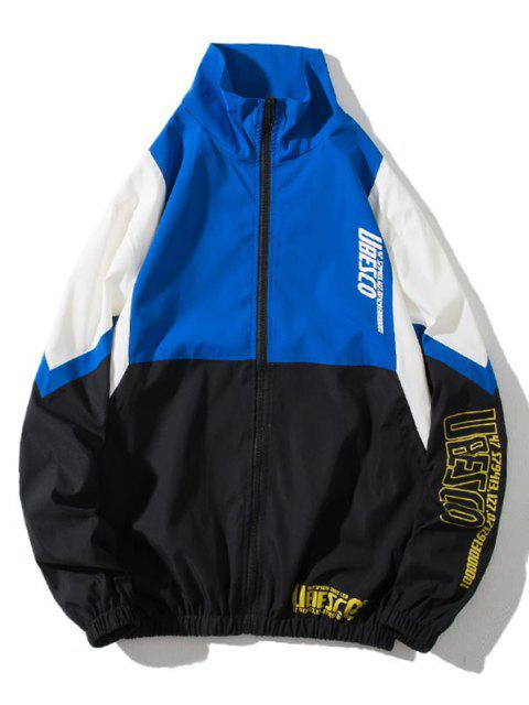 sale Colorblock Panel Letter Print Zip Up Jacket - MULTI-B L Mobile