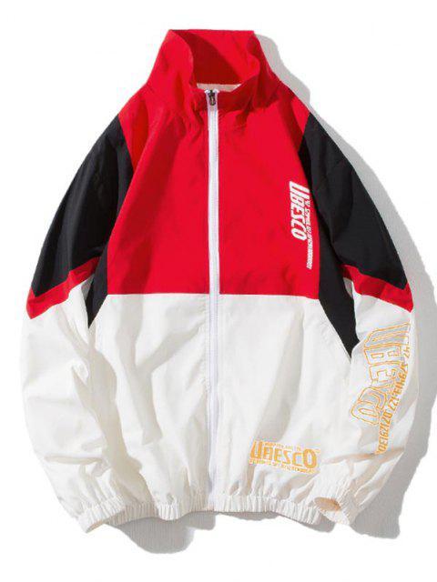 lady Colorblock Panel Letter Print Zip Up Jacket - MULTI-A M Mobile