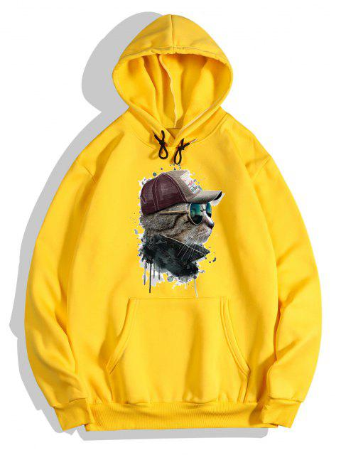 shop Front Pocket Cat Paint Print Fleece Hoodie - BRIGHT YELLOW M Mobile