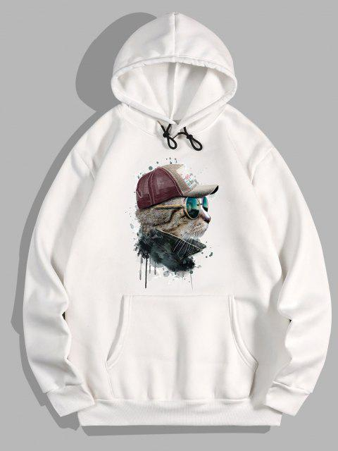 shops Front Pocket Cat Paint Print Fleece Hoodie - WHITE 2XL Mobile