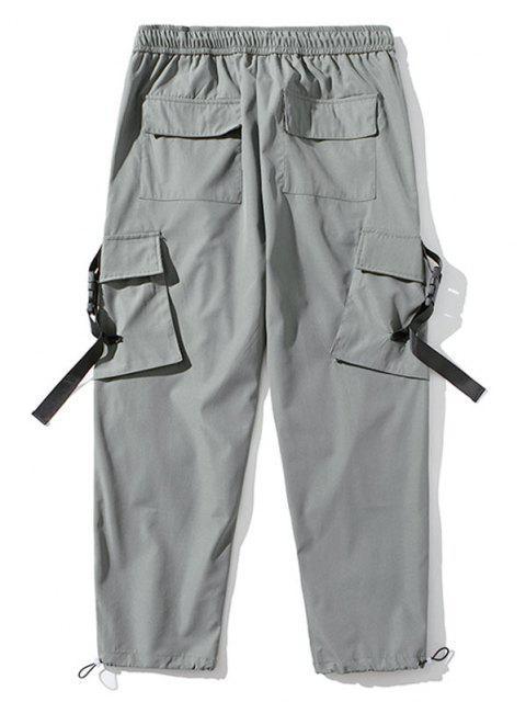 Pantalones de Carga con Correa de Hebilla de Bordado con Letras - Gris Claro M Mobile
