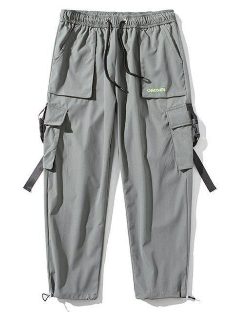 Pantalones de Carga con Correa de Hebilla de Bordado con Letras - Gris Claro S Mobile