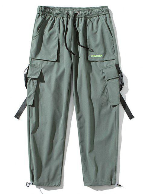 Pantalones de Carga con Correa de Hebilla de Bordado con Letras - Verde claro L Mobile