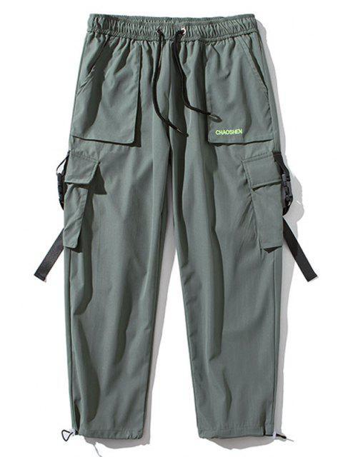 Pantalones de Carga con Correa de Hebilla de Bordado con Letras - Gris Oscuro M Mobile