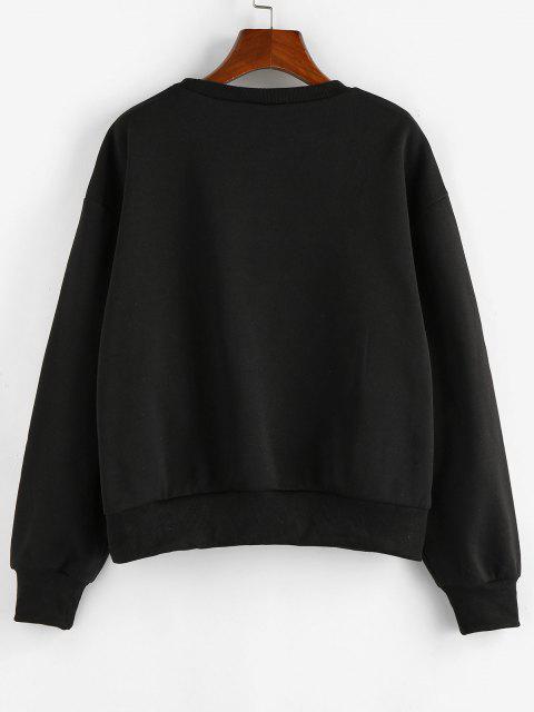 ZAFUL Drop Shoulder Plants Print Graphic Sweatshirt - أسود S Mobile