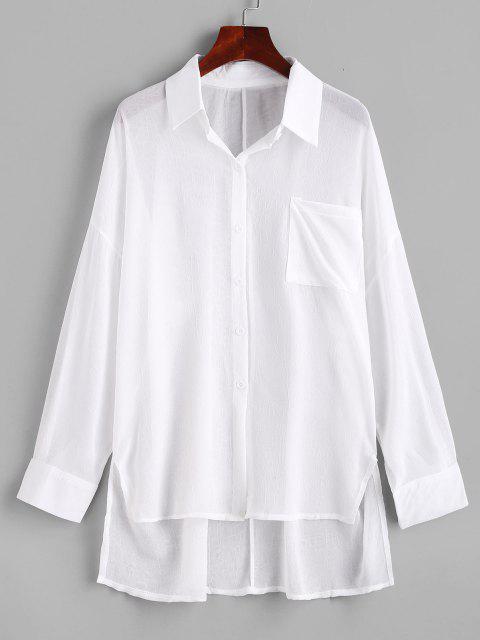 hot Front Pocket Side Slit High Low Shirt - WHITE S Mobile