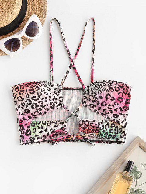ZAFUL Leopard Print Crisscross Self Tie Swim Top - متعدد S Mobile