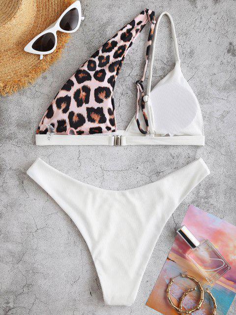 new ZAFUL One Shoulder Ribbed Leapord Brazilian Bikini Swimwear - WHITE S Mobile