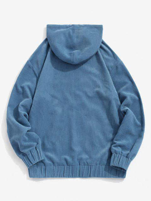 sale Colorblock Patchwork Pocket Corduroy Hoodie - DEEP BLUE XL Mobile