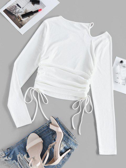 ZAFUL Anliegendes Geripptes T-Shirt mit Ausschnitt - Weiß L Mobile