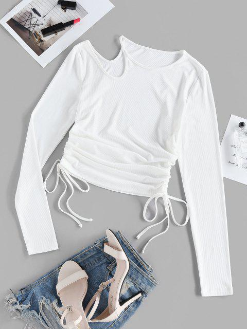 shop ZAFUL Cinched Ribbed Cutout Fitted T Shirt - WHITE M Mobile