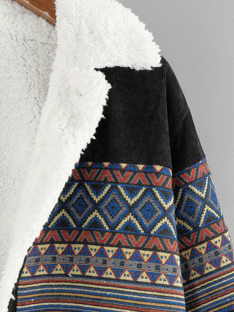 ZAFUL Chaqueta de Pana con Bolsillo de Piel Sintética - Negro S Mobile