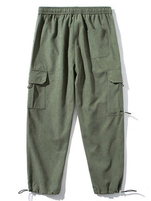 Pantalones Vaquero Pies de Parche con Estampado de Letras - Ejercito Verde L Mobile