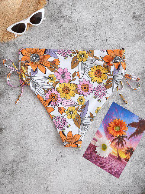 Bikini Taglia Forte Floreale con Lacci Laterali di ZAFUL - Arancio XXL Mobile