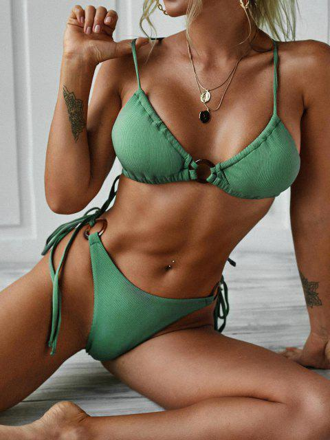 trendy ZAFUL Ribbed Rings Tie Side Bikini Swimwear - GREEN S Mobile
