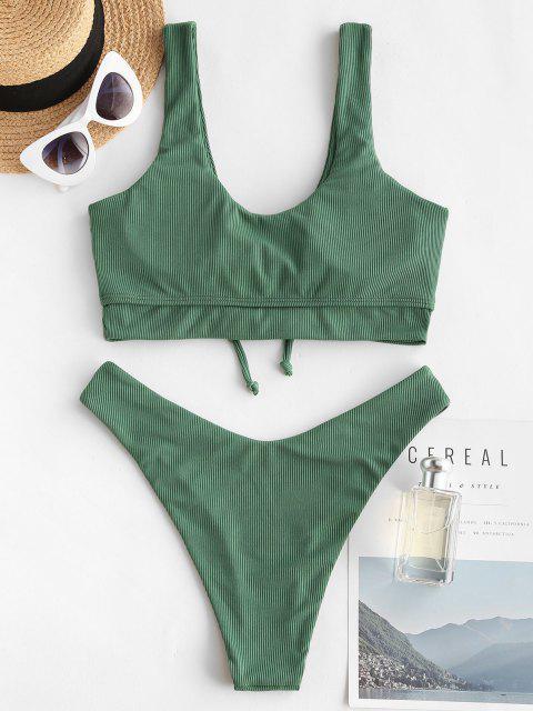 ZAFUL Maillot de Bain Bikini Côtelé à Coupe Haute à Lacets en Avant - Vert clair S Mobile