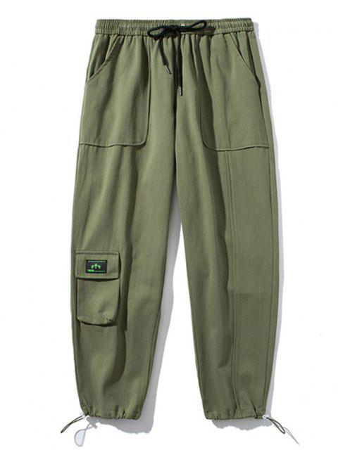 fancy Letter Applique Toggle Drawstring Casual Pants - ARMY GREEN S Mobile