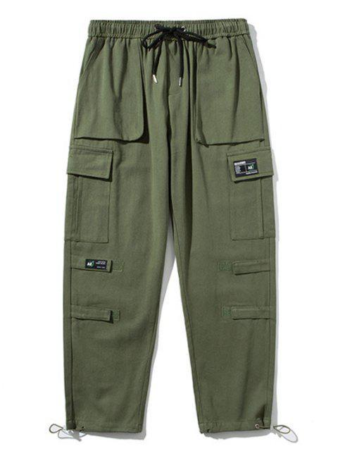 Pantalones de Carga con Aplicación de Detalle de Gancho y Cordón - Ejercito Verde M Mobile