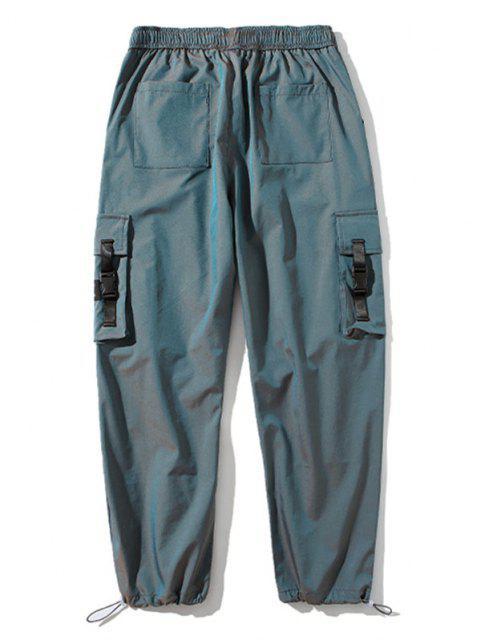 Pantalones de Carga con Correa de Hebilla de Haz de Bolsillo - Azul L Mobile