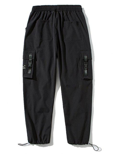 shop Strap Buckle Flap Pocket Beam Feet Cargo Pants - BLACK XL Mobile