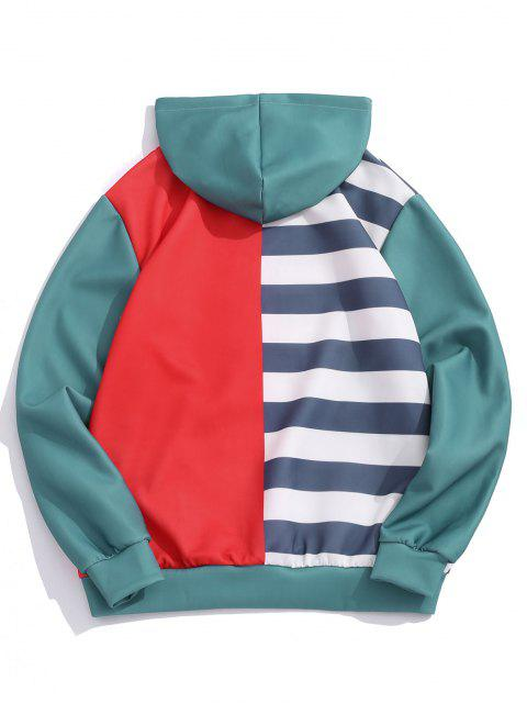 Striped Contrast Print Kangaroo Pocket Hoodie - روبي الأحمر 2XL Mobile