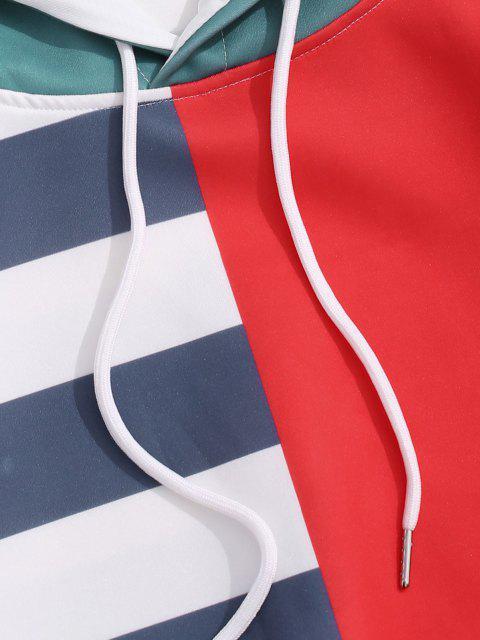fashion Striped Contrast Print Kangaroo Pocket Hoodie - RUBY RED 2XL Mobile