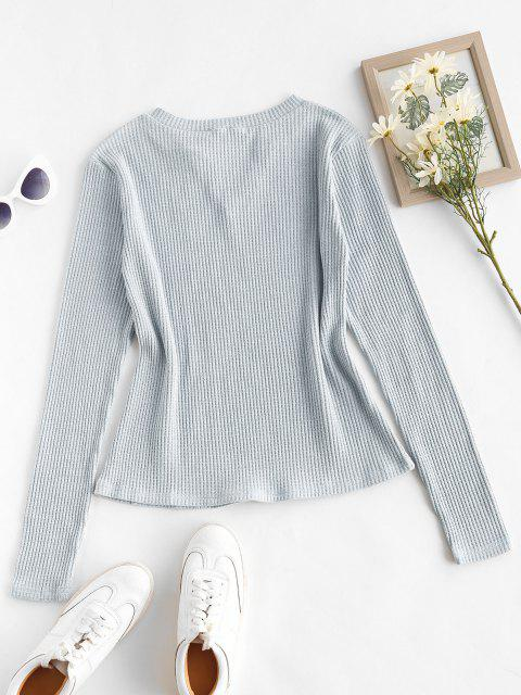 Camisola de Malha com Nervuras e Entalhe - Azul claro L Mobile