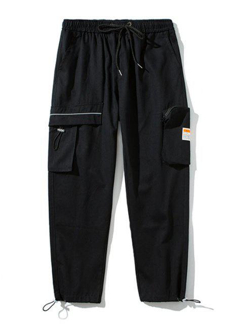 latest Drawstring Ankle Patch Design Cargo Pants - BLACK S Mobile