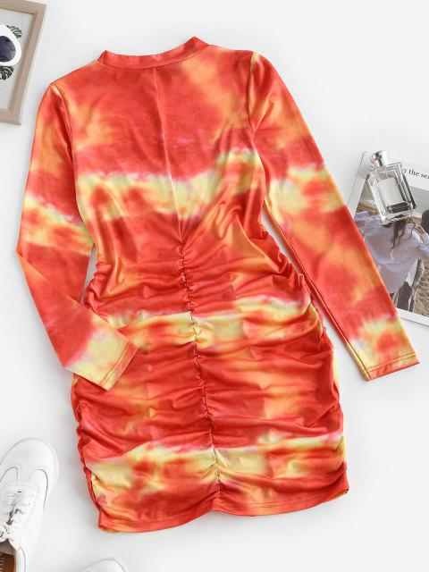 fancy Tie Dye Ruched Bodycon Long Sleeve Dress - RED M Mobile