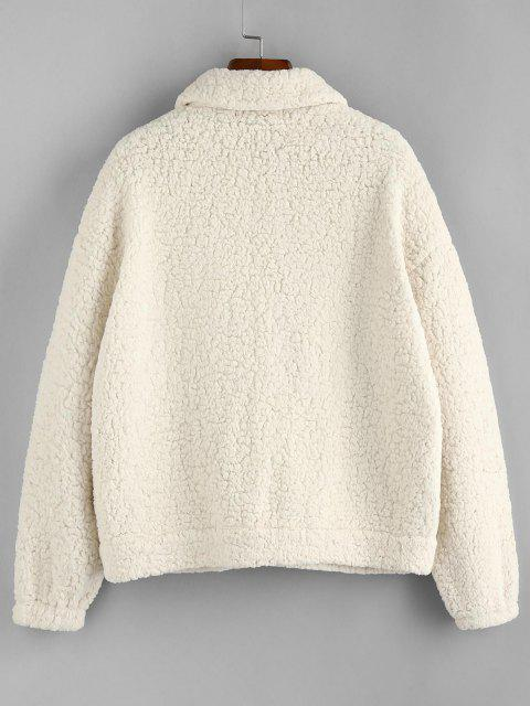 women ZAFUL Denim Patchwork Drop Shoulder Teddy Coat - WHITE M Mobile