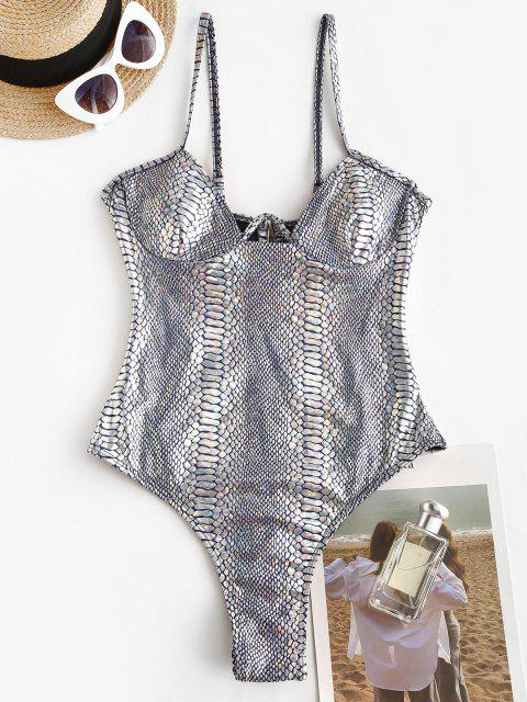latest ZAFUL Metallic Snakeskin W-wired Disco One-piece Swimsuit - SILVER XL Mobile