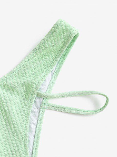 womens ZAFUL Textured Ribbed Brazilian Bikini Bottom - LIGHT GREEN S Mobile