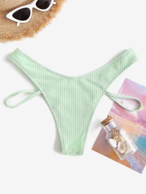 women's ZAFUL Textured Ribbed Brazilian Bikini Bottom - LIGHT GREEN L Mobile