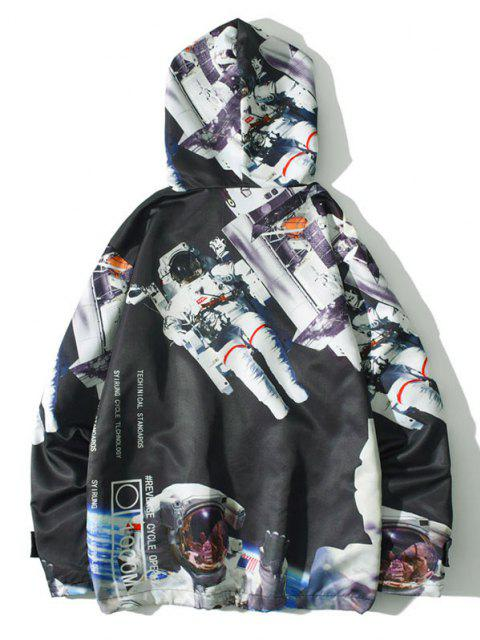 chic Hooded Astronaut Print Toggle Drawstring Jacket - BLACK XL Mobile