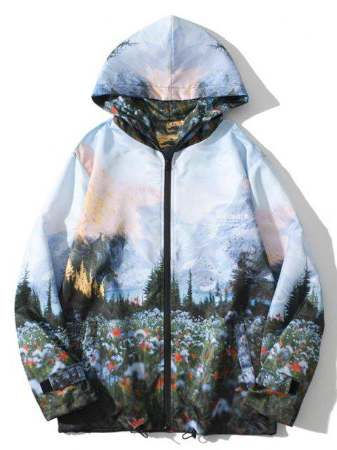 womens Hooded Mountain Forest Print Jacket - MULTI M Mobile