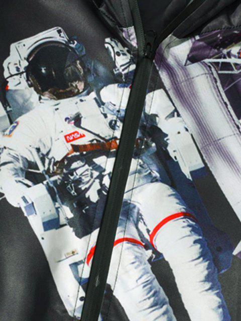 Veste Bouclée à Capuche Astronaute Imprimée à Cordon - Noir 2XL Mobile